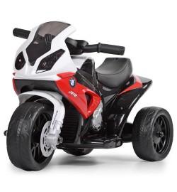 Мотоцикл JT5188L-3 (1шт) 1мотор6V,аккум6V4A,муз,кож.сид,д69-ш35-в44см,высота до сид.26см,красн-бел