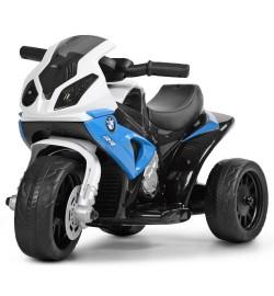 Мотоцикл JT5188L-4 (1шт) 1мотор6V,аккум6V4A,муз,кож.сид,д69-ш35-в44см,высота до сид.26см,син-бел