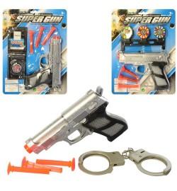 Набор с оружием 168N-K-28 (150шт) пистолет15см, пули-присос,3в(мишень/наручники),на листе, 19-25-3с