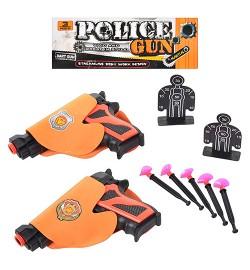 Пистолет 105-3 (240шт) 2шт, кабура, присоски, мишень, в кульке, 24-17-4см