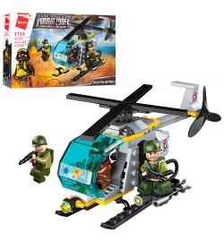 Конструктор Qman 1715 (64шт) военный, вертолет, фигурки, 124дет, в кор-ке, 22-14-4,5см