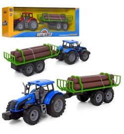 Трактор AS-2013 (24шт) АвтоСвіт, 1:32, инер-я, с прицепом, 43см, 2цвета, в кор-ке, 48,5-16-11,5см