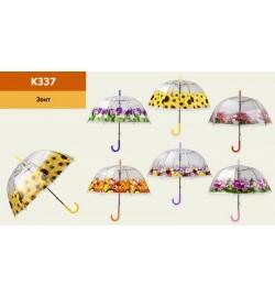 Парасолька K337 (60шт / 5) 6 видів, купол, в пакеті, довжина тростини - 81см, діаметр в розкритому вигляді - 86 см