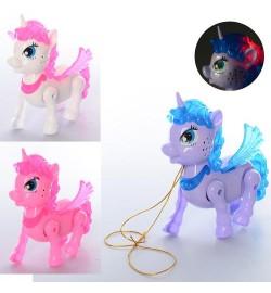 Лошадь 776 (96шт) единорог, пегас, 19см, муз,звук, свет, 3цв, на бат-ке, в кульке, 21-21-6см