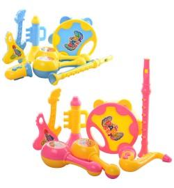 Музыкальные инструменты DF709-3 (108шт) гитара,дудка,маракасы,бубен,микс цв,в кульке,24,5-20-5,5см