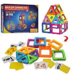 Конструктор 006A (12шт) магнитный, карточки, 38дет, в кор-ке, 34-25,5-5см