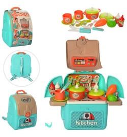 Кухня 008-966A (16шт) плита, продукты,посуда, кухон.принадл,склад.в рюкзак,в карт.оберт, 22-27-13см