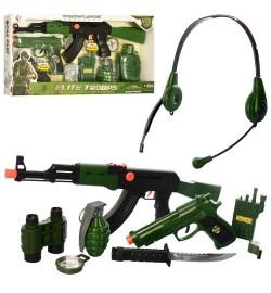 Набір військового M016AB (36шт) автомат, пістолет, рація, рація, граната, компас, в кор-ке, 53,5-26-5,5см