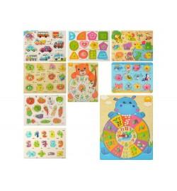 Дерев'яна іграшка Рамка-вкладиш MD 2534 (200шт) з ручкою, мікс видів, в кульку, 22,5-18-1см