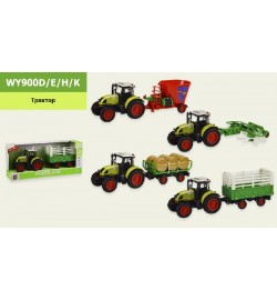 Трактор с прицепом батар. WY900D/E/H/K (18шт) 4 вида,свет,звук,в коробке 42*11,5*18,5 см, р-р игруш