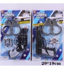 Полицейский набор 2323-5 (168шт/2) 2 вида, пистолет, значок, наручники, на планшетке 29*19см
