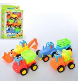 Набор машинок 345-2A (24шт) инер-я, 4шт(стройтехника,трактор), от 10см, в кор-ке, 22-35-8см