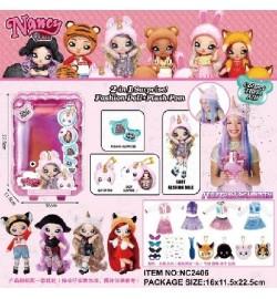 Игровой набор кукла NC2406 (60шт/2) кукла с плюш мехов шапкой животного, в кор, 16*11,5*22,5см