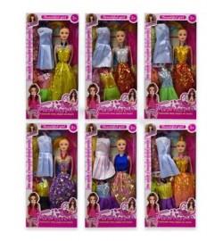 Кукла  2020A1 (120шт/2) 6 видов, набор платьев, в кор.32,5*4,5*16 см