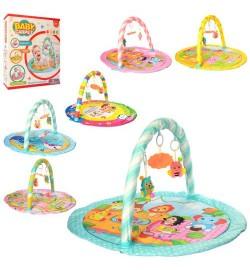 Килимок для немовляти 859-60-1-2-3-4 (12шт) 79-64см, дуга, підвіски 3шт, 6відов, в кор-ке, 43-49-6,5см