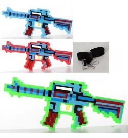 Автомат 0223-2 (72шт) MK, 39см, звук(англ,стрельбы),3цвета, на бат-ке, в кульке, 39-17-2,5см