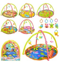 Килимок для немовляти 004-5-8-13-25-29 (12шт) 84-84см, дуга 2шт, подвес5шт, 2віда в сумці, 62-66-2,5cм
