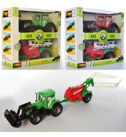 Трактор 0488-455 (18шт) инер-й, 28см, прицеп, 2 цвета, в кор-ке, 30-27-11,5см