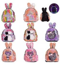 Рюкзак зі світлом BG0044 (40шт) з вушками, в пайєтках, 4 види по 2 кольори, 25 * 12 * 28 см