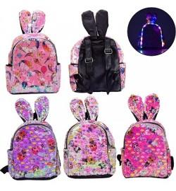 Рюкзак со светом BG0045 (40шт) с ушками, в пайетках,свет, 4 вида, 22*30 см