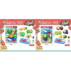 Продукти 750-1-3 (96шт) на липучці, овочі, 4шт, дощечка, ніж, 2віда, на аркуші, 20-30-5см