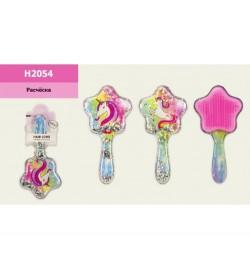 Расческа H2054 (120шт) единороги, с блёстками, 2 вида, р-р игрушки - 8,5*4*17см