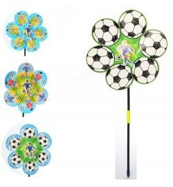 Вітрячок M 6237 (200шт) квітка, футбол, розмір середн, діам22см, на палоч38см, 4віда, в кульку, 23-22-2с