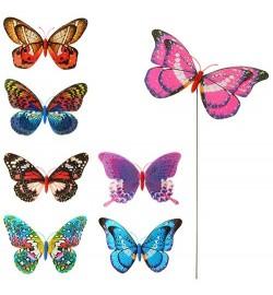 Вітрячок M 3722 (300шт) розмір маленький, діам.20см, метелик, блиск, мікс кольорів, паличка металл45см