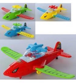 Літак 2986-3 (144шт) заводний, 25см, пенопласт.шарікі, крила склади, 4цвета, в кульку, 25-12-7см