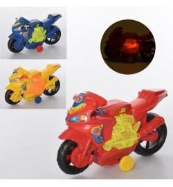 Мотоцикл 44444-1 (288шт) заводной, 17см, ездит, свет, 3 цвета, бат (таб), в шарик, 17-10-6см