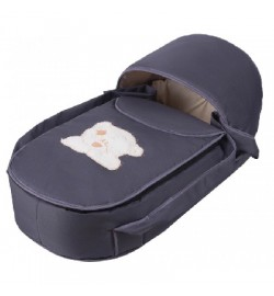 Люлька-переноска Babyroom BLA-056 с твердым дном аппликация графит (мордочка мишки штопаная)