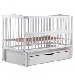Ліжко Babyroom Веселка маятник, ящик, відкидний бік DVMYO-3 бук білий