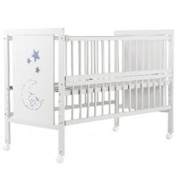 Ліжко Babyroom Ведмедик M-01 відкидний бік, колеса бук білий