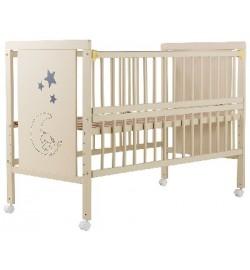 Ліжко Babyroom Ведмедик M-01 відкидний бік, колеса бук слонова кістка