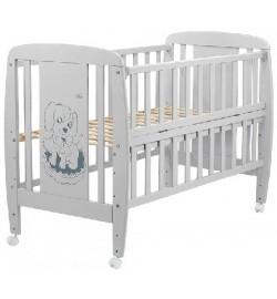 Ліжко Babyroom Собачка відкидний бік, колеса DSO-01 бук сірий