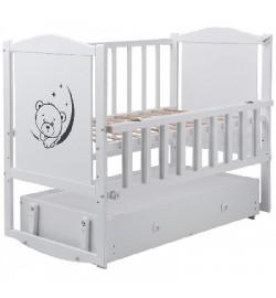 Ліжко Babyroom Тедді Т-03 фігурне бильце, маятник, ящик, відкидний бік білий