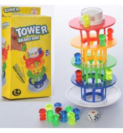 Настольная игра 18-3 (128шт) Балансирующая башня, фигурки, кубик, в кор-ке, 10,5-19,5-4см