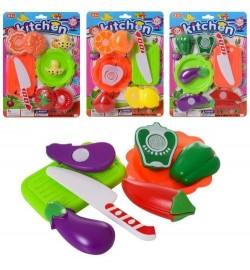 Продукти C788-1-2-3-4 (216шт) на липучці 3шт, овочі/фрукт, тарілка, ніж, досточ, 4 види, на аркуші,