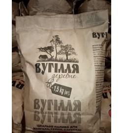 Дерев'яне вугілля лісник 1,5 кг просіяний велика фракція дуб / береза (Пакет крафт береза)
