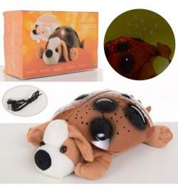 Нічник 699-16 (16шт) собачка 30см, проектор нічного неба, муз, USBзарядн, плюш, на бат, в кор-ці, 3