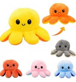 Мягкая игрушка перевернушка M066 (100шт) осьминожки, меняет цвет и настроение, 5 цветов, в пакете,