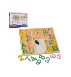 Дерев'яна іграшка Набір першокласника MD 2591 (50шт) цифри, знаки, маркер, в коробці, 25-20-2см