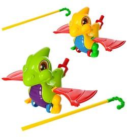 Каталка 0360 (72шт) на ціпку 46см, дракончик, звук, махає крилами, 2 цвета, в кульку, 20-21-13см