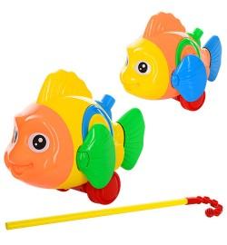 Каталка 0366 (96шт) на ціпку 40см, рибка, звук, двіг.плавнікамі, 2 кольори, в кульку, 24-17-10см