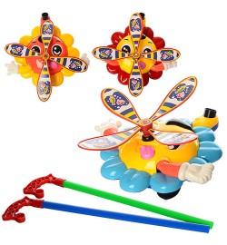 Каталка 363 (60шт) на ціпку, звук, рухає ручками і очками, 3цвета, в кульку, 30-30-8см