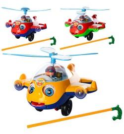 Каталка S168 (48шт) на ціпку, вертоліт, звук, вращ.вінт, двіг.глаз.і мову, 3цвета, в кульку, 23-20,5-15см