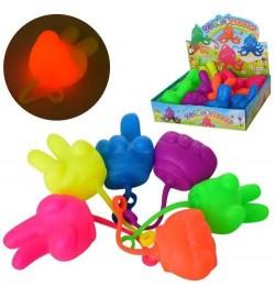 М'яч дитячий MS 2686 (144шт) антистрес, долоня 7см, довга ручка, св, бат-таб, 12шт (3в) в дисплеї,