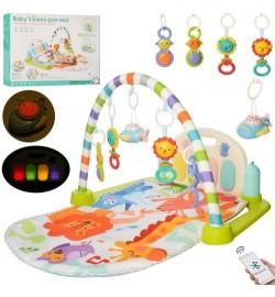 Коврик для младенца 9952A (12шт) 85-52см, дуга, подвески, пианино, муз, св, Bluetooth, бат, в кор