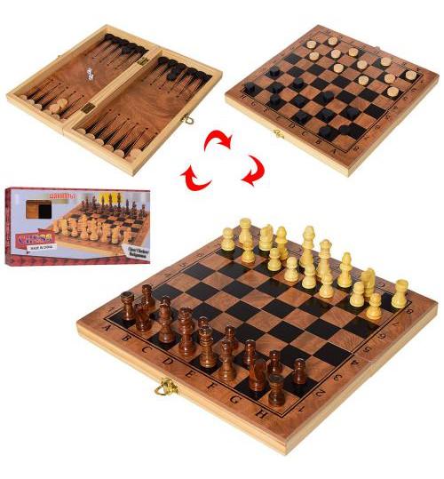 Шахматы S3029 (30шт) деревянные, 3в1 (шашки, нарды), RU, в кор-ке, 29,5-15,5-4см