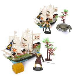 Набор пиратов 15998-1-2 (108шт) корабль15см, 2 вида (фигурка/краб), в кульке, 20-22-4см